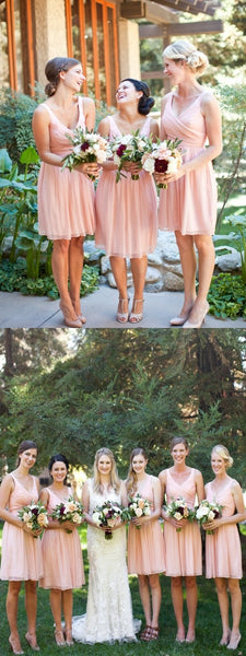 Simple A-Line V-Neck Sleeveless Chiffon Short Bridesmaid Dresses,FPWG092