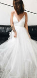 Simple A-Line V-Neck Spaghetti Straps Tulle Long Wedding Dresses,FPWD115