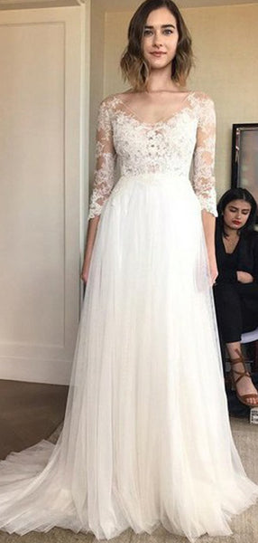 A-Line V-Neck 3/4 Sleeves Tulle Long Wedding Dresses With Appliques,FPWD107