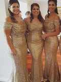 Charming Mermaid Off Shoulder Sequined Long Bridesmaid Dresses,FPWG088