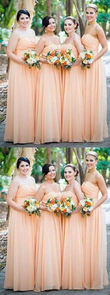 Simple Cheap A-Line Sweetheart Chiffon Long Bridesmaid Dresses,FPWG093