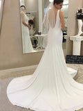 Mermaid V-Neck Sleeveless Sweep Train Wedding Dresses With Open Back,FPWD109