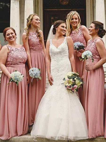 A-Line Round Neck Sleeveless Chiffon Long Bridesmaid Dresses With Lace,FPWG087