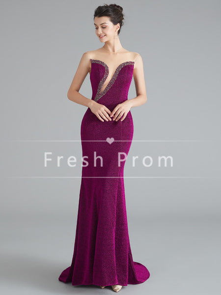 Charming Mermaid Round Neck Sleeveless Velvet Long Prom Dresses With Beading,FPPD342