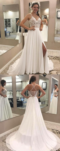 A-Line V-Neck Halter Sleeveless Split Chiffon Long Wedding Dresses With Appliques,FPWD118