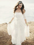 Simple A-Line Off Shoulder Lace Cheap Beach Wedding Dresses,FPWD123