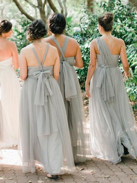 Pretty A-Line One Shoulder Grey Tulle Long Bridesmaid Dresses,FPWG118