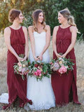A-Line Round Neck Sleeveless Dark Red Chiffon Long Bridesmaid Dresses,FPWG100
