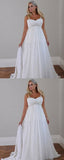 A-Line Spaghetti Straps Chiffon Long Wedding Dresses With Beading,FPWD116