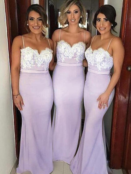 Sexy Mermaid Spaghetti Straps Sweetheart Long Bridesmaid Dresses With Lace,FPWG121