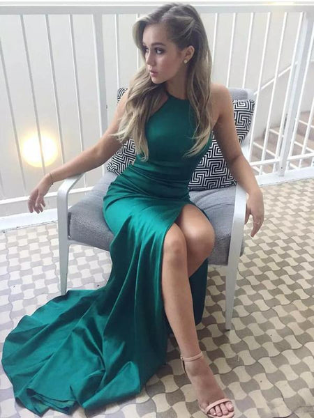 Simple A-Line Halter Sleeveless Elastic Satin Long Prom Dresses,FPPD008