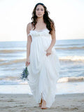 New Arrival Simple A-Line Spaghetti Straps Chiffon Long Beach Wedding Dresses,FPWD121