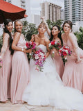 A-Line V-Neck Spaghetti Straps Pink Chiffon Long Bridesmaid Dresses,FPWG112