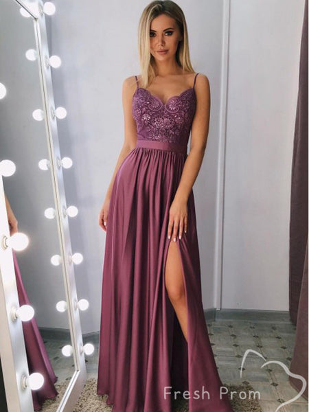 Alluring A-Line V-Neck Spaghetti Straps Lace Long Prom Dresses With Slit,FPPD411