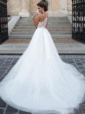 A-Line Round Neck Sleeveless Tulle Long Wedding Dresses With Appliques,FPWD131