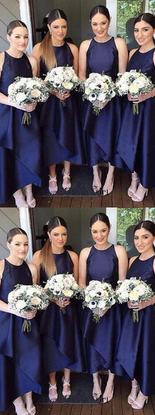 A-Line Scoop Neckline Sleeveless Navy Blue Tea Length Bridesmaid Dresses,FPWG101