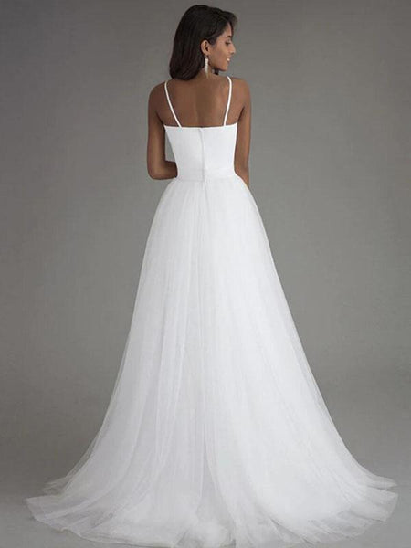 Simple A-Line Spaghetti Straps Tulle Cheap Long Wedding Dresses,FPWD133