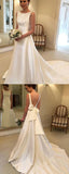 A-Line Round Neck Sleeveless Cheap Sweep Train Wedding Dresses,FPWD129