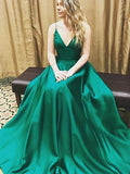 Simple A-Line Spaghetti Straps Green Satin Long Prom Dresses,FPPD010