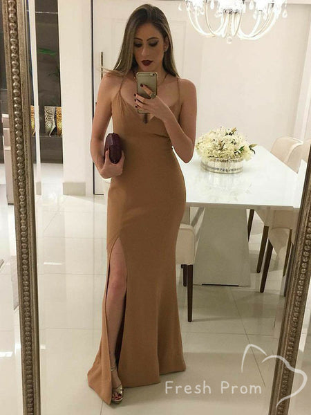 Mermaid V-Neck Spaghetti Straps Cheap Floor Length Prom Dresses With Slit,FPPD416