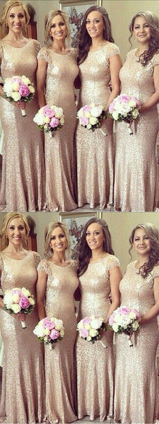 Sexy Mermaid Scoop Neckline Cap Sleeves Gold Sequined Long Bridesmaid Dresses,FPWG120