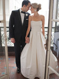 Simple A-Line Strapless Cheap Long Wedding Dresses With Bowknot,FPWD134