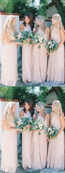 A-Line Halter Sleeveless Chiffon Long Bridesmaid Dresses,FPWG094