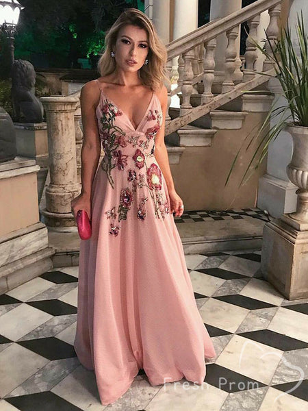 A-Line V-Neck Spaghetti Straps Chiffon Long Prom Dresses With Hand Made Flower,FPPD418