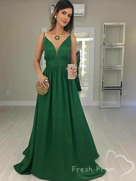 Simple A-Line V-Neck Spaghetti Straps Chiffon Long Prom Dresses Online,FPPD420