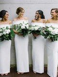 Elegant Sheath Off Shoulder White Long Bridesmaid Dresses Online,FPWG116