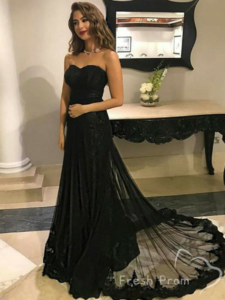 Alluring A-Line Sweetheart Black Lace Tulle Sweep Train Prom Dresses,FPPD425
