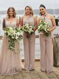 A-Line Mismatched Jumpsuit Chiffon Long Bridesmaid Dresses,FPWG097