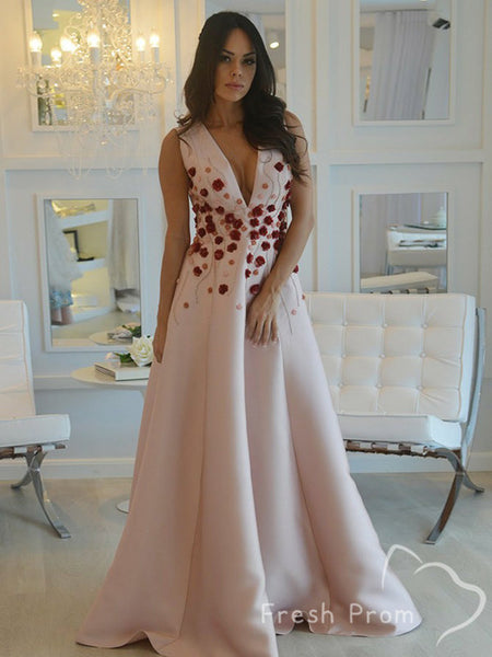 New Arrival A-Line Deep V-Neck Sleeveless Cheap Long Prom Dresses With Hand Made Flowers,FPPD428