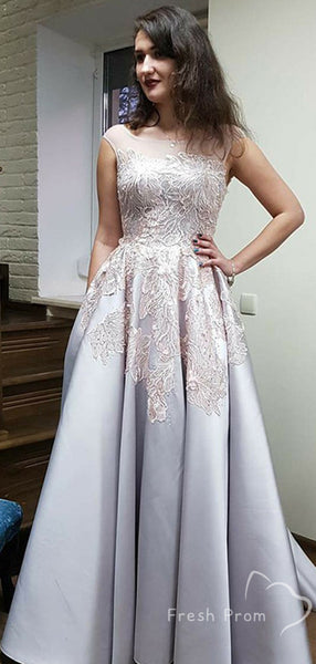 A-Line Round Neck Cap Sleeves Long Prom Dresses With Appliques,FPPD430