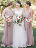 A-Line Scoop Spaghetti Straps Chiffon Long Bridesmaid Dresses Online,FPWG102