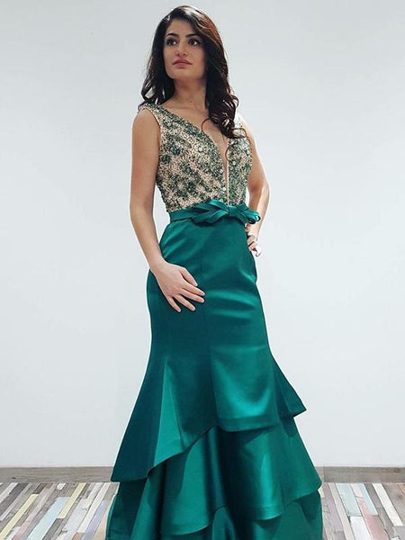 Sexy Mermaid Green Satin Sleeveless Beaded Prom Dresses,FPPD031