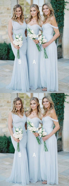 A-Line Mismatched Light Blue Chiffon Long Bridesmaid Dresses,FPWG098