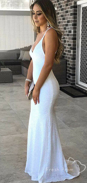 Sexy Mermaid Deep V-Neck Spaghetti Straps Cheap Long Prom Dresses,FPPD432