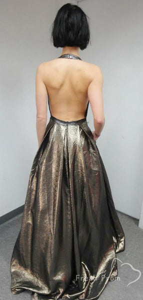 Sparkly A-Line Deep V-Neck Halter Backless Floor Length Prom Dresses,FPPD433