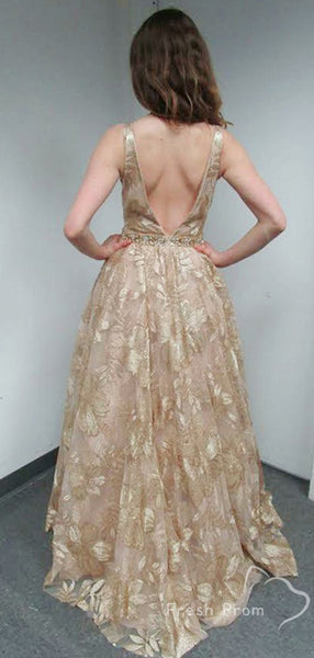 A-Line Deep V-Neck Sleeveless Lace Beaded Floor Length Prom Dresses,FPPD434