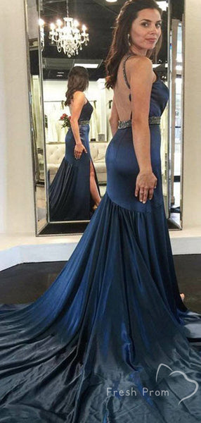 Mermaid Halter Sleeveless Split Side Long Prom Dresses With Beading,FPPD435