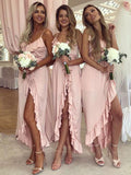 A-Line Spaghetti Straps High Low Pink Bridesmaid Dresses With Ruffles,FPWG126