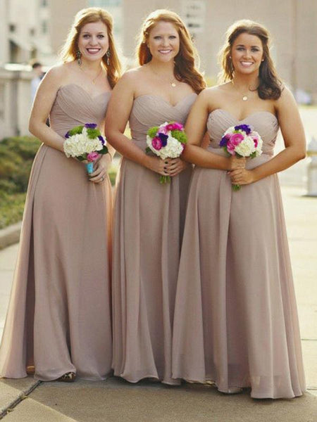 A-Line Sweetheart Sleeveless Chiffon Long Bridesmaid Dresses With Pleats,FPWG130