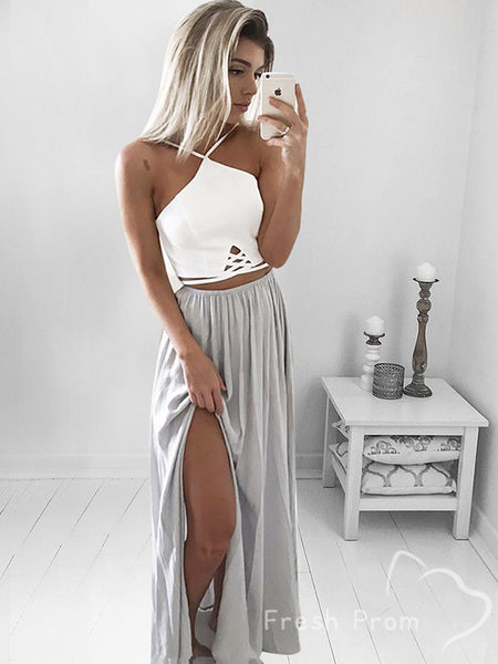 A-Line Two Piece Sleeveless Chiffon Cheap Long Prom Dresses With Slit,FPPD436