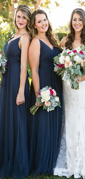 A-Line V-Neck Spaghetti Straps Sleeveless Navy Blue Tulle Long Bridesmaid Dresses,FPWG134