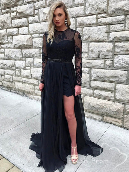 See Through A-Line Round Neck Long Sleeve Black Lace Split Side Long Prom Dresses,FPPD437