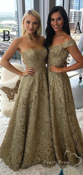 A-Line Off The Shoulder&Sweetheart Lace Affordable Long Prom Dresses,FPPD438