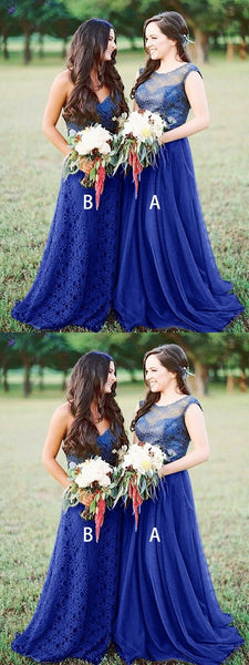 A-Line Mismatched Royal Blue Tulle Long Bridesmaid Dresses With Lace,FPWG135
