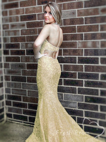 Mermaid Deep V-Neck Halter Sleeveless Lace Long Prom Dresses Online,FPPD439