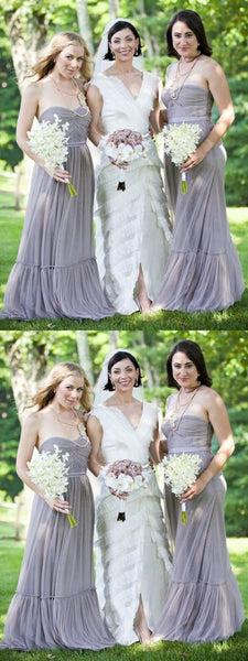 A-Line Strapless Sleeveless Tulle Custom Long Bridesmaid Dresses Online,FPWG129